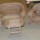 New 3 Piece Wicker Miniature Sofa, Chair, Cocktail Table Set, Plant Stand
