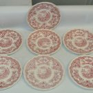 7 Vintage John Maddock & Sons Bombay Red Transferware Bread & Butter Plates