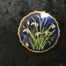Vtg STRATTON England Ladies Pressed Powder Makeup Compact, Royal Blue Flowers