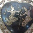 Vintage Sterling Silver SIAM Ladies Heart Shaped Pin, Brooch, Fighting Ladies
