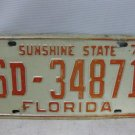 Vintage 1974 FLORIDA SUNSHINE STATE License Plate, Tag, Marker