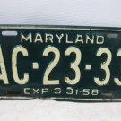 Vintage 1958 MARYLAND License Plate, Marker, Tag