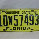 Vintage 1961 FLORIDA SUNSHINE STATE  Automobile License Plate Tag Marker