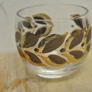 Vtg Mid Century Modern Rocks, Highball Round Glass, Painted Brown, Gold Leaf