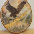 Vintage Tree Wood Slice Wall Plaque, America The Beautiful, American Bald Eagle
