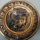 Vintage Round Copper Wall Hanging, Embossed, Blacksmith, Horse