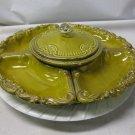 Vintage California Original Pottery Ceramic LAZY SUSAN Tray, Relish, 5 Part