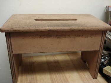 Vintage Primitive , Painted Wooden Small Bench, Foot Stool