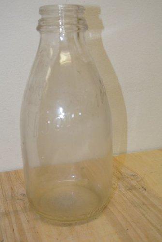 Vintage BORDEN'S Clear Glass One Quart Milk Bottle, Embossed