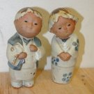 2 Gently Used Ceramic Painted Oriental Figurines, Boy & Girl