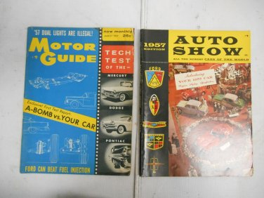 Lot 2 Vintage 1957 Car Automobile Magazines Motor Guide & Auto Show