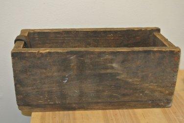 Vintage Primitive WOODEN Rectangular Box, Leather  Strap Handle