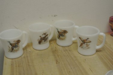 4 Vintage Anchor Hocking Fire King Milk Glass Wild Birds Coffee Mugs