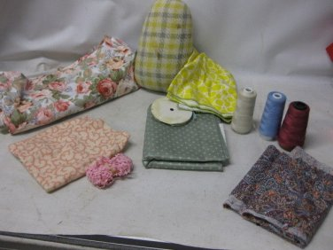 Vintage Sewing Lot, Fabric, Remants, Thread, DRITZ HAM, Ric Rac