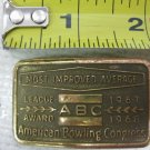 Vtg BRASS Belt Buckle 1967 ABC American Bowling Congress, Most Improved Average