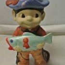"Gently Used Ceramic FISHING BOY Figurine, Handpainted 11"""