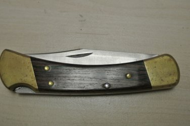 Vintage BUCK 110 USA Lock Back Folding Pocket Knife, Wood Handle