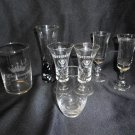 Lot of 7 Advertising Clear Shot Glasses, Jagermeister, Tequila Rose, Budweiser