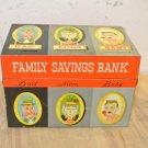 Vintage Tin Family Savings Bank, Flip Lid Tin Box, Made in Japan