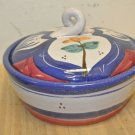 Gently Used Terracotta Stoneware Round Covered Casserole Dish, Painted Floral