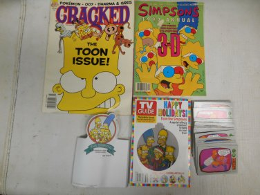 Vintage Simpsons Collectible Lot Cracked Toon Mag, TV Guide, 1992 Annual, Cards