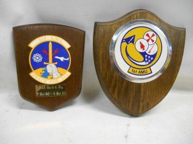 Lot 2 RARE USAF Military Maintenance Award Plaques, 1st AMU & 513 AMS Peace All