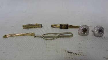 Lot of Assorted Vintage Men's Tuxedo Cuff Links and Tie Clips