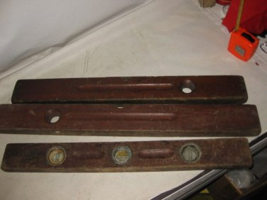 3 Vintage STANLEY TOOLS Wooden Levels