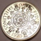 Large Proof Great Britain 1970 2 Shillings~Tudor Rose~Last Year~Free Shipping