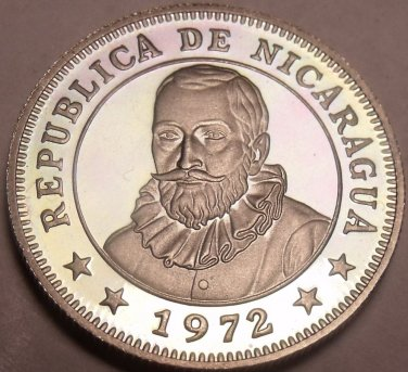 Rare Cameo Proof NicaraGua 1972 5 Centavos~Radiant Sun~20,000 Minted~Free Ship