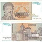 YUGOSLOVIA 5 MILLION DINARA HIGH DENOMINATION~FREE SHIP