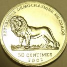 Gem Unc Congo 2002 50 Centimes~Lion Coin~Verney Camereon~Free Shipping