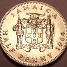 Gem Uncirculated Jamaica 1964 Half Penny~Queen Elizabeth II~Free Shipping