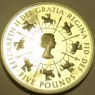 Gem Cameo Proof Great Britain 1993 5 Pounds~40th Anniversary Of Reign~Free Ship
