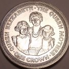 Massive Gem Unc Isle Of Man 1985 Crown~The Queen Mother With Both Daughters~Fr/S
