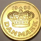 Gem Uncirculated Denmark 1996 25 Ore~Large Crown~Free Shipping