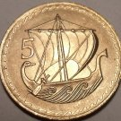 RARE GEM UNC CYPRUS 1963 FIVE MILS~MERCHANT SHIP~1ST YEAR EVER~FREE SHIPPING~