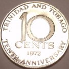 Proof Trinidad & Tobago 1972 10 Cents~10th Anniversary Of Independence~Free Ship