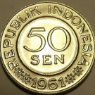 Huge Gem Unc Indonesia 1961 50 Sen~Only Coin Minted In 1961~Eagle~Free Shipping