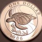 Rare Silver Cameo Proof Bermuda 1986 Dollar~21,872 Minted~Green Sea Turtle~Fr/Sh