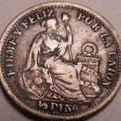 Silver Peru 1900/890 J.F. Overdate Half Dinero~Lima Mint~Free Shipping