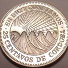 Rare Cameo Proof NicaraGua 1972 25 Centavos~Radiant Sun~20,000 Minted~Free Ship