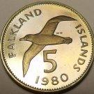Rare Cameo Proof Falkland Islands 1980 5 Pence~Blackbrowed Albatross~Free Ship