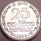 Gem Brilliant Unc Sri Lanka 2004 25 Cents~Fantastic Coin~Free Shipping