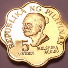 Rare Cameo Proof Philippines 1977 5 Sentimos~4,822 Minted~Free Shipping