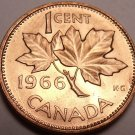 Gem Brilliant Unc Canada 1966 Maple Leaf Cent~Free Shipping