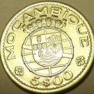 Gem Unc Silver Mozambique 1960 5 Escudos~Only Year~Shield And Malteese Cross~F/S