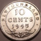 Scarce Newfoundland Silver 1945-C 10 Cents~Fantastic~Free Shipping
