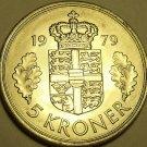 Huge Rare Unc Denmark 1979 5 Kroner~Minted In Copenhagen~Margrethe II~FS