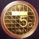 Rare Encapsulated Proof Netherlands 1989 5 Gulden~15,300 Minted~Free Shipping